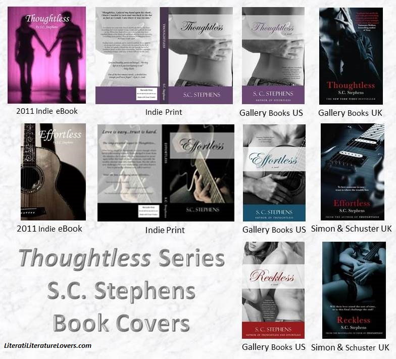 Book Covers from the Thoughtless Series by S.C. Stephens